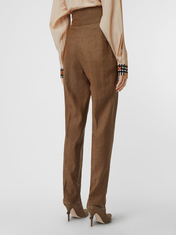 Pleat Detail Technical Linen Tailored Trousers in Flaxseed - Women | Burberry Australia - cell image 2