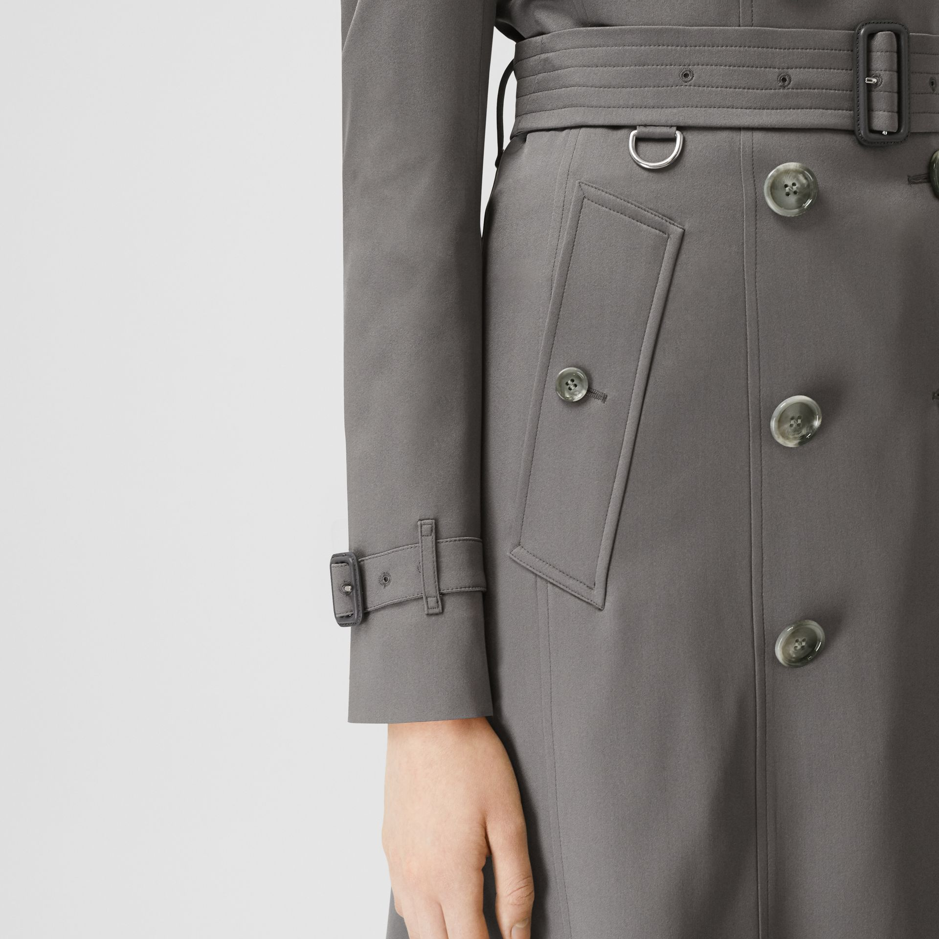 Silk Trench Coat in English Grey - Women | Burberry - gallery image 3