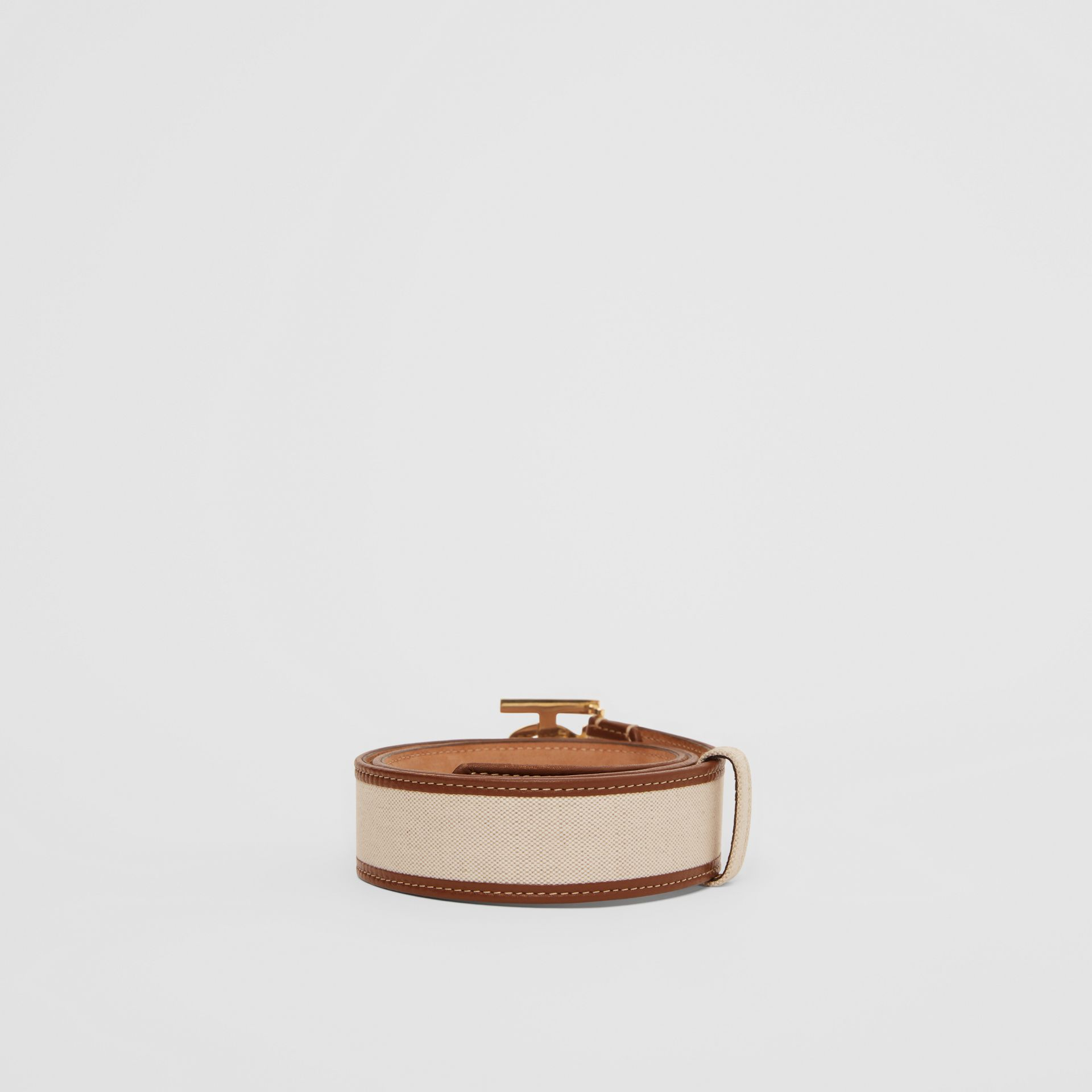 Monogram Motif Canvas and Leather Belt in Natural - Women | Burberry United Kingdom - gallery image 3