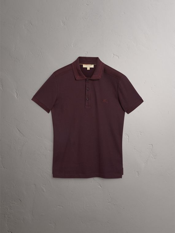 Embroidered Detail Cotton Piqué Polo Shirt in Blackcurrant - Men | Burberry - cell image 3