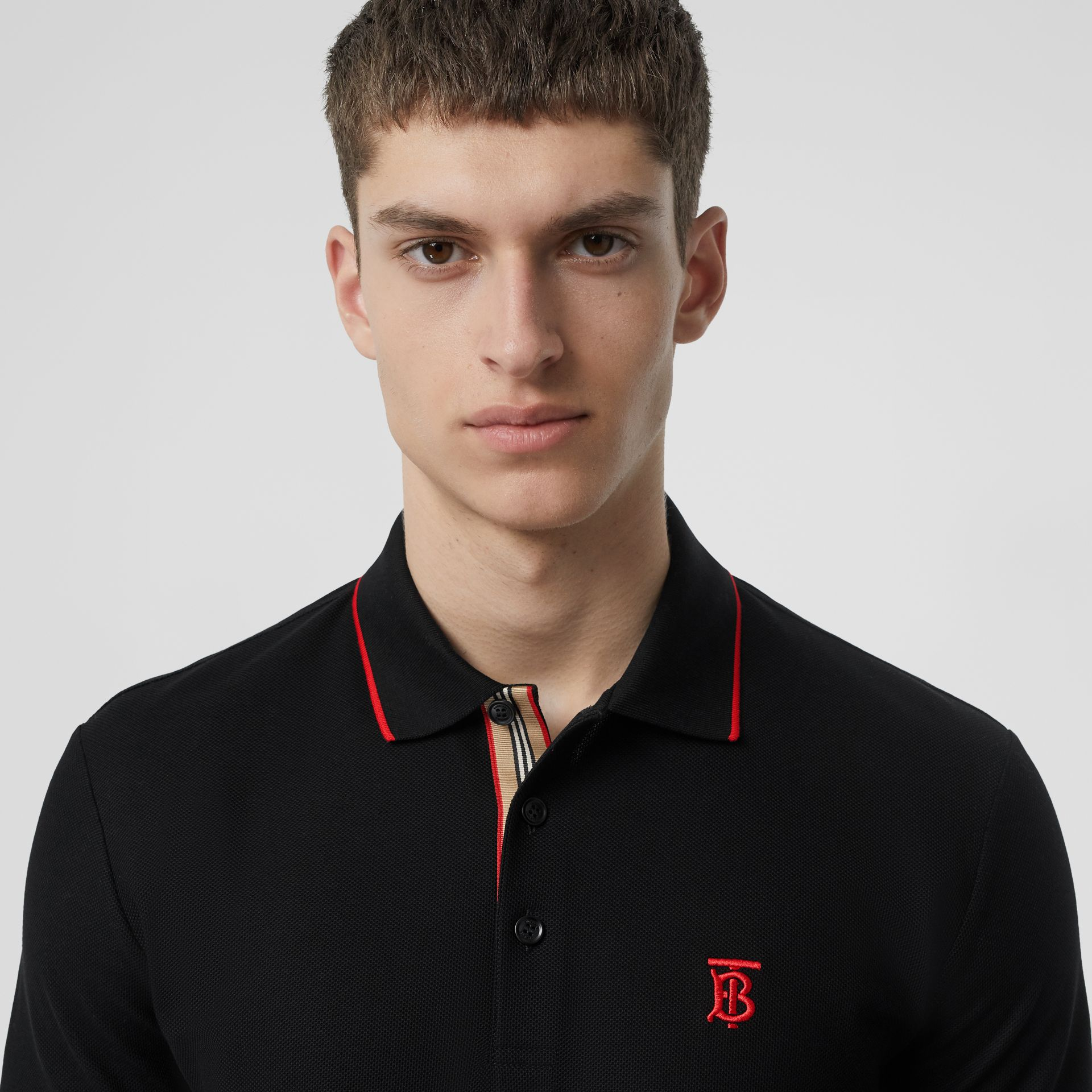 Icon Stripe Placket Cotton Piqué Polo Shirt in Black - Men | Burberry Canada - gallery image 1
