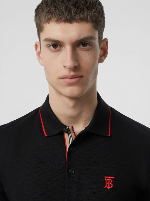 Icon Stripe Placket Cotton Piqué Polo Shirt in Black - Men | Burberry - cell image 1