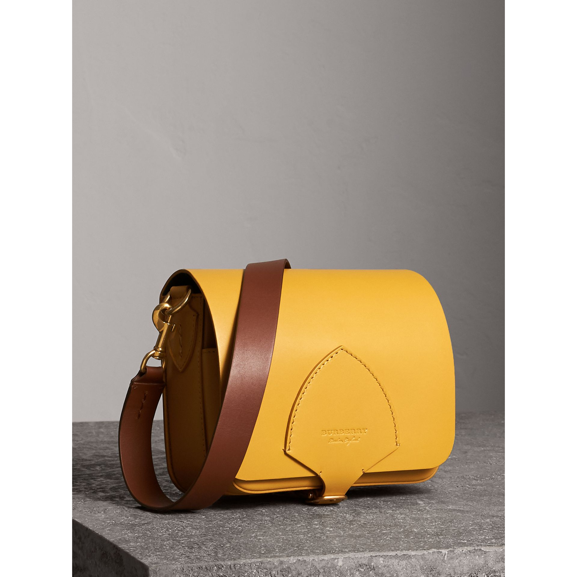 The Square Satchel in Leather in Larch Yellow - Women | Burberry Australia - gallery image 6