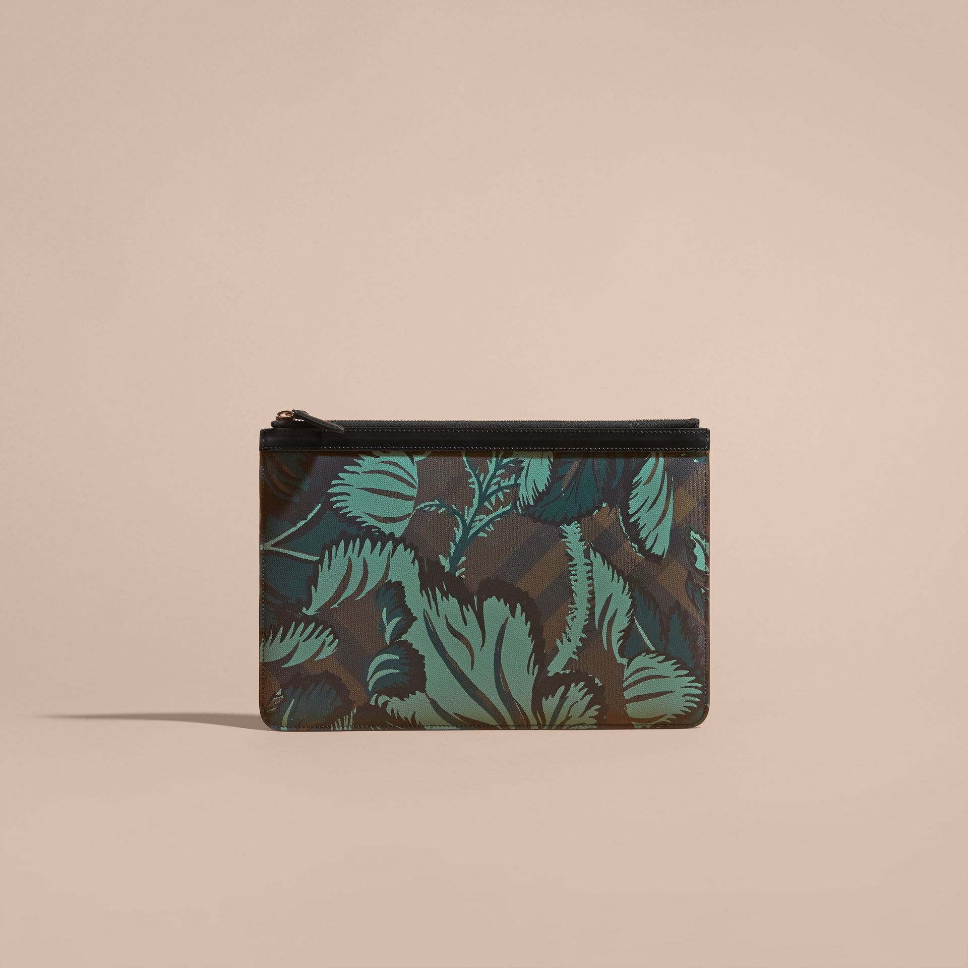 Floral Print London Check Pouch Chocolate - gallery image 6