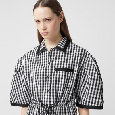 Puff-sleeve Gingham Cotton Shirt Dress