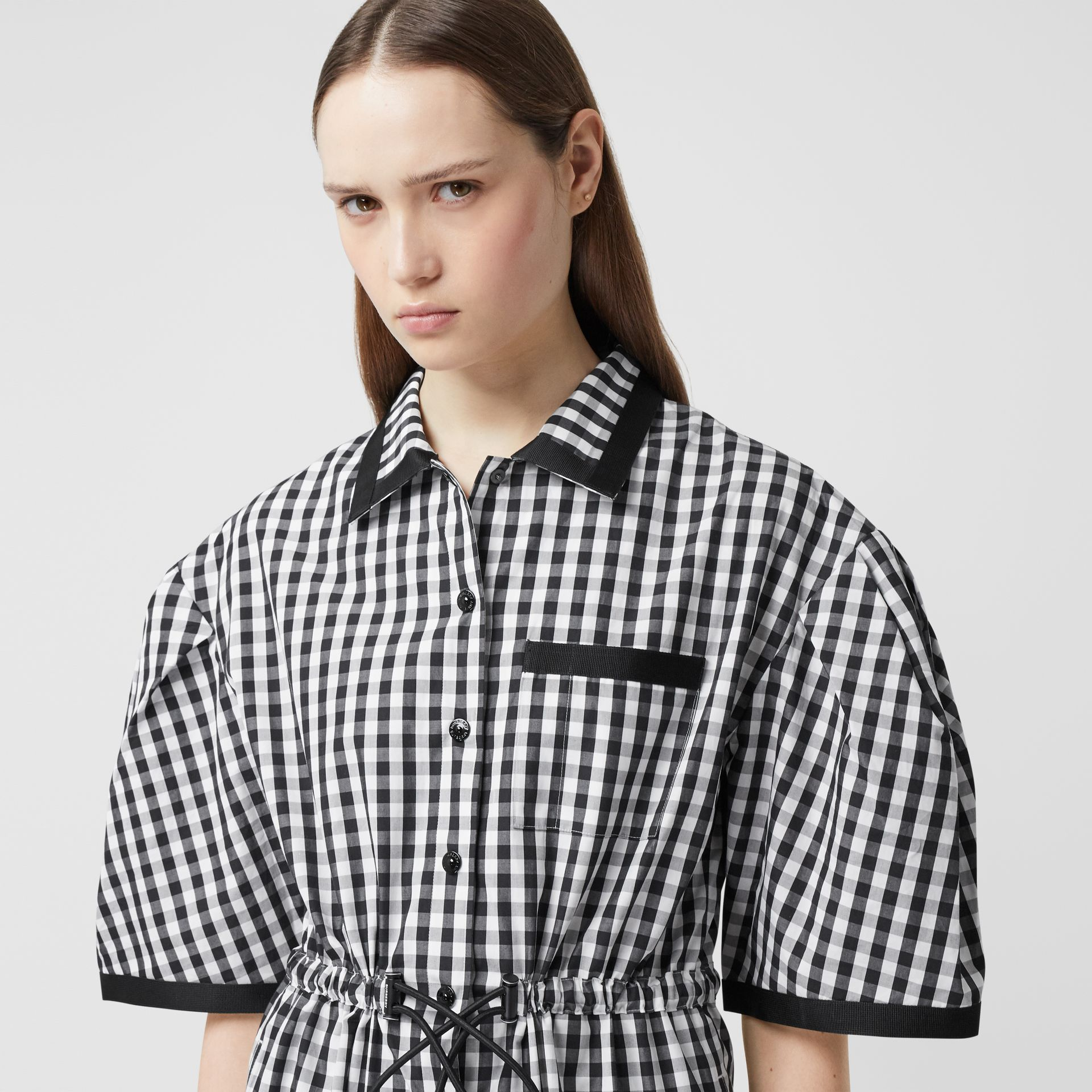 Puff-sleeve Gingham Cotton Shirt Dress in Black - Women | Burberry Australia - gallery image 1