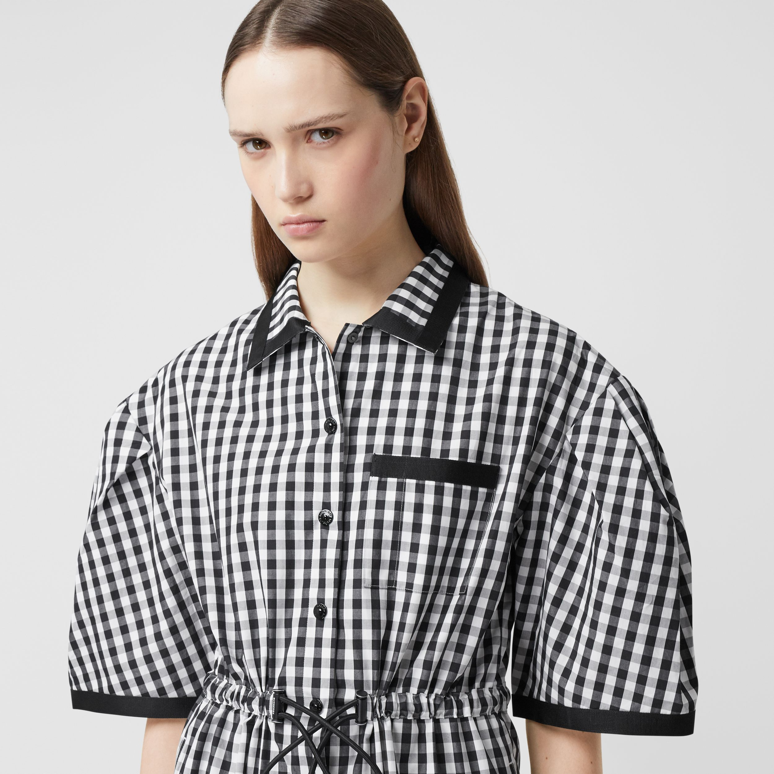Puff-sleeve Gingham Cotton Shirt Dress in Black - Women | Burberry - 2