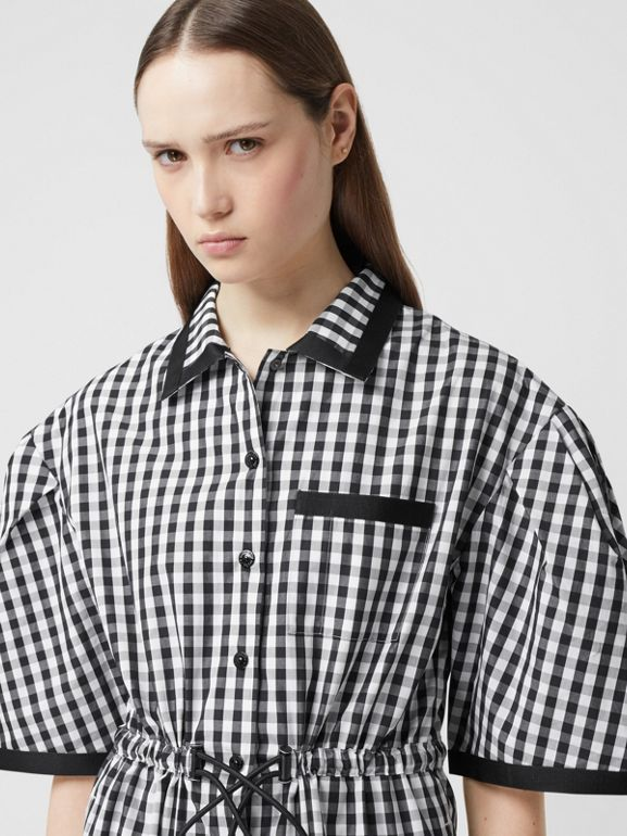 Puff-sleeve Gingham Cotton Shirt Dress in Black - Women | Burberry United Kingdom - cell image 1