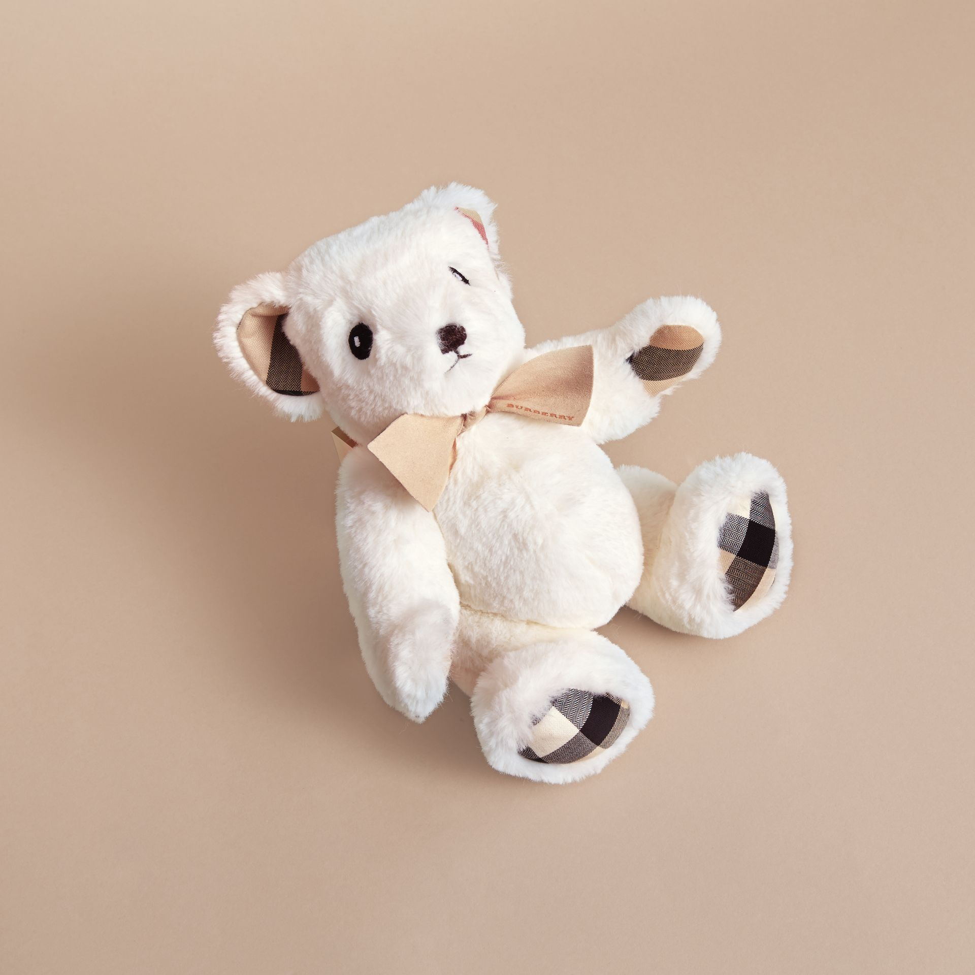 Thomas Baby Bear with Check Detail in White | Burberry Singapore - gallery image 3