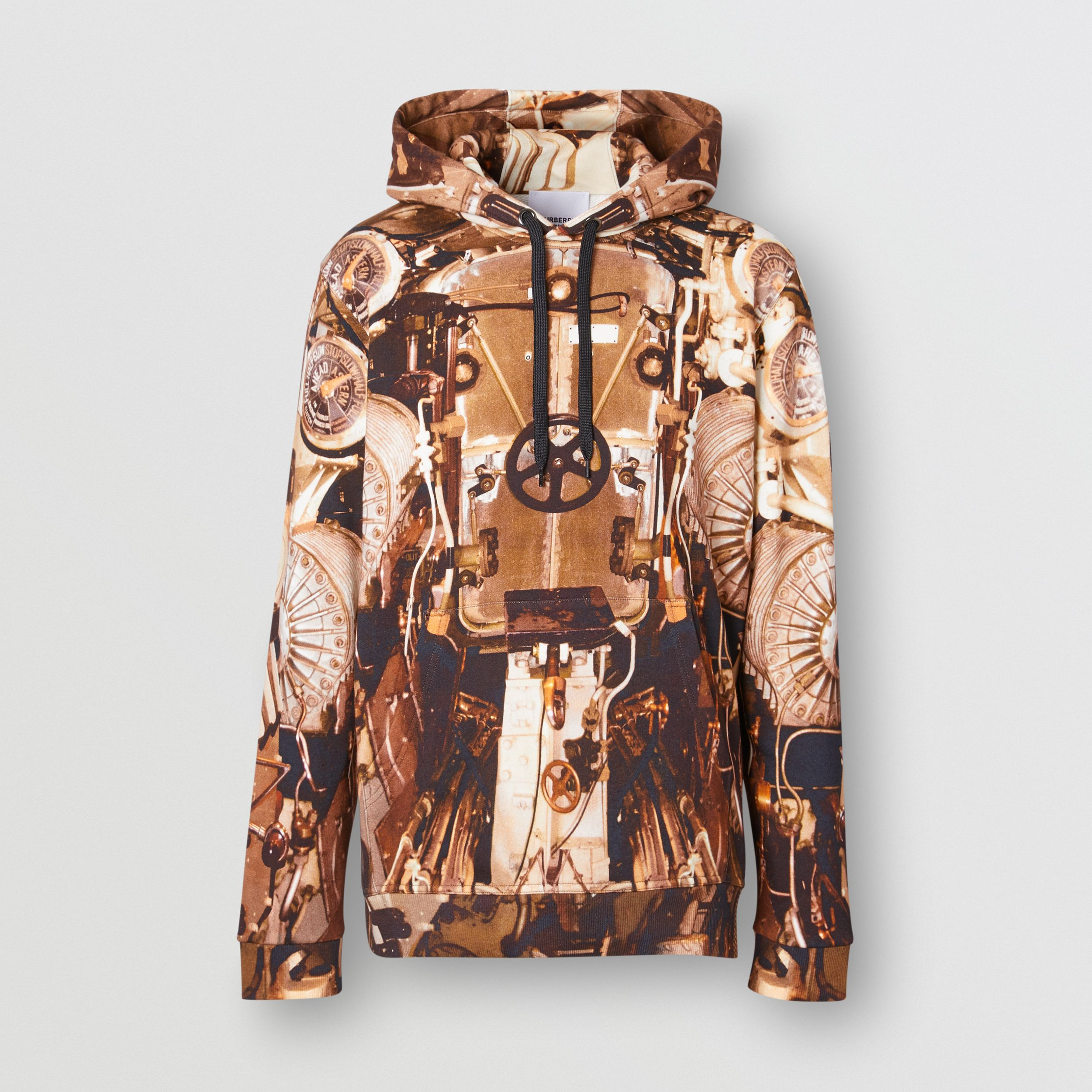 Submarine Print Cotton Hoodie in Bronze - Men | Burberry - 4