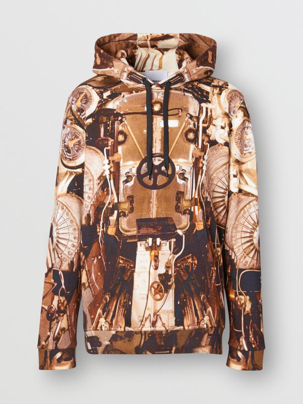 Submarine Print Cotton Hoodie in Bronze - Men | Burberry Hong Kong S.A.R - cell image 3