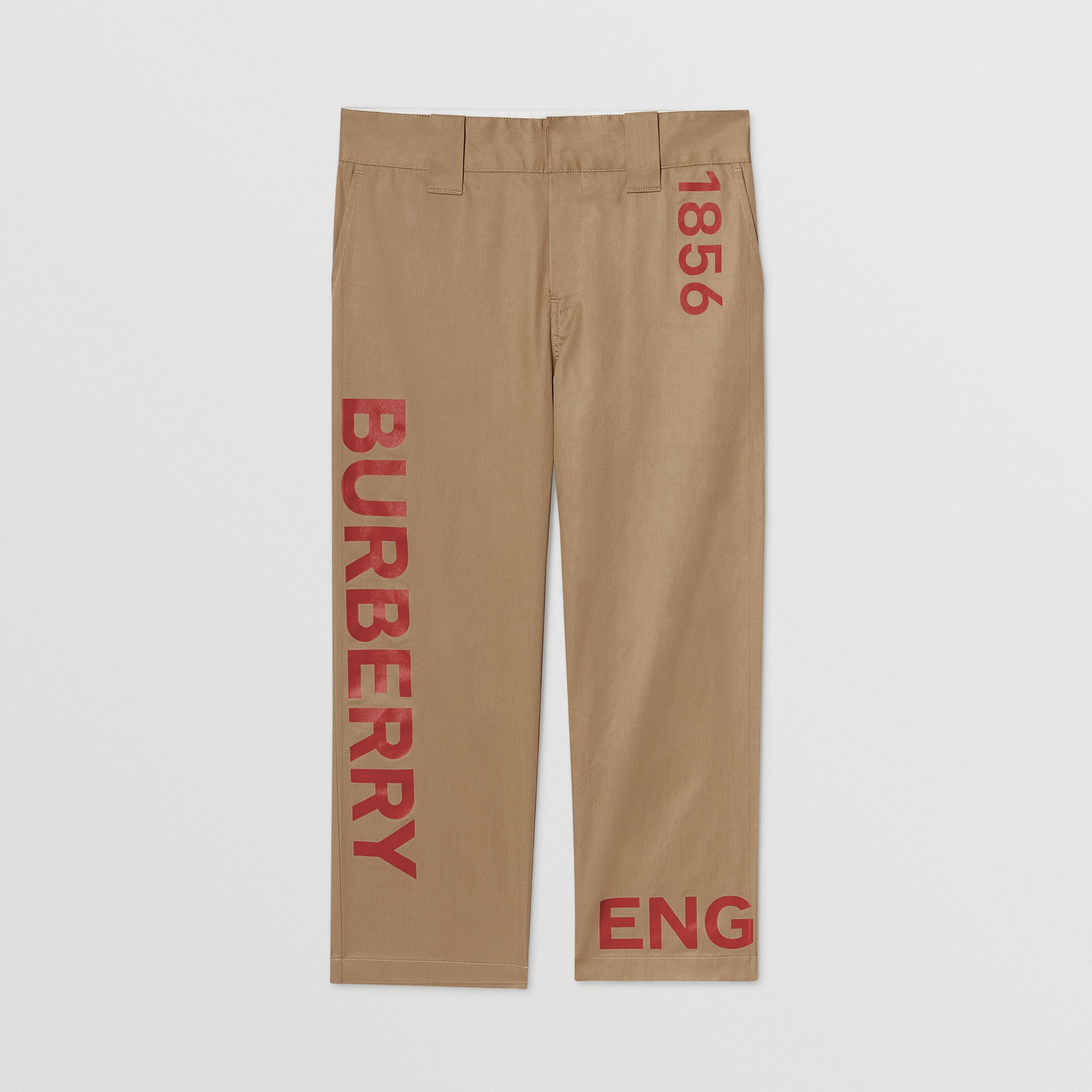 Horseferry Print Cotton Twill Trousers in Honey | Burberry - 1