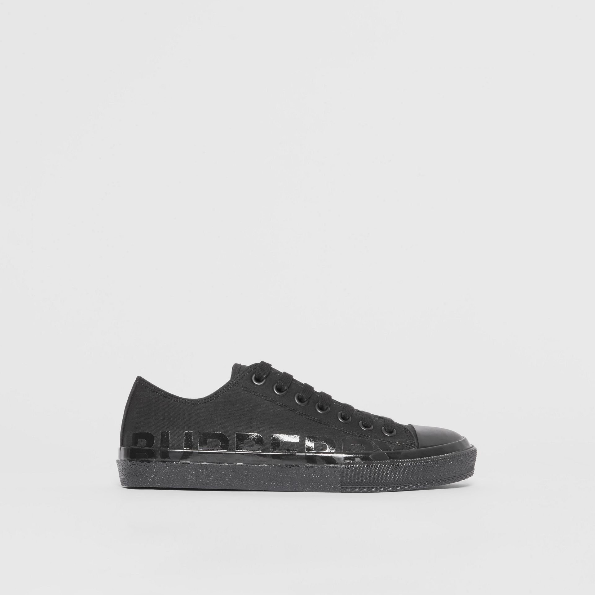 Logo Print Cotton Gabardine Sneakers in Black - Men | Burberry - gallery image 4