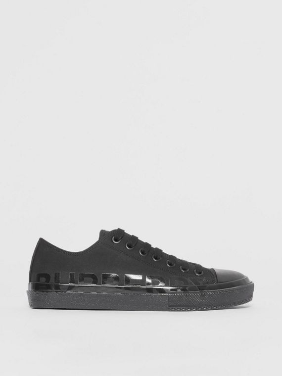 Logo Print Cotton Gabardine Sneakers in Black