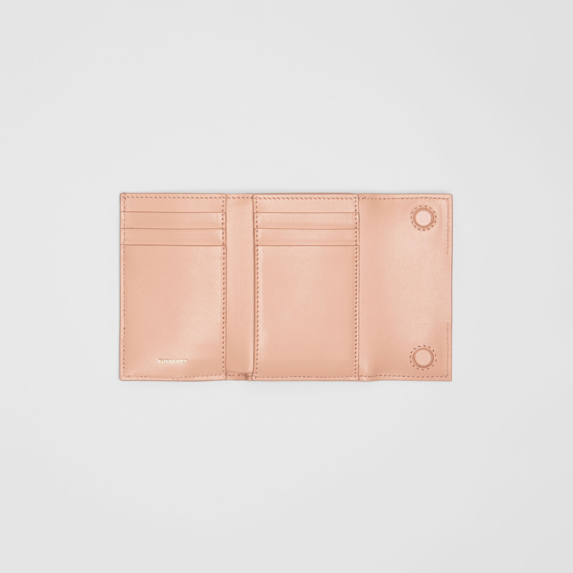 Horseferry Print Leather Folding Wallet in Blush Pink | Burberry Australia - gallery image 2