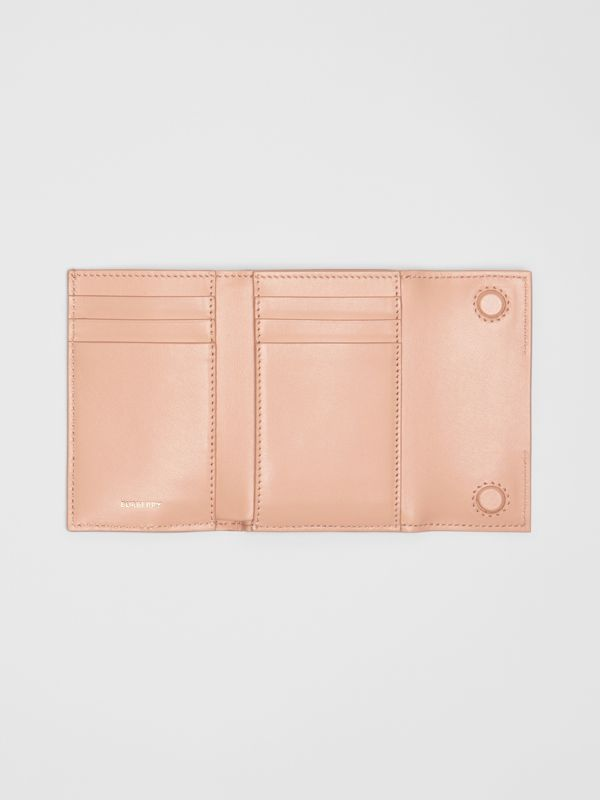 Horseferry Print Leather Folding Wallet in Blush Pink - Women | Burberry - cell image 2