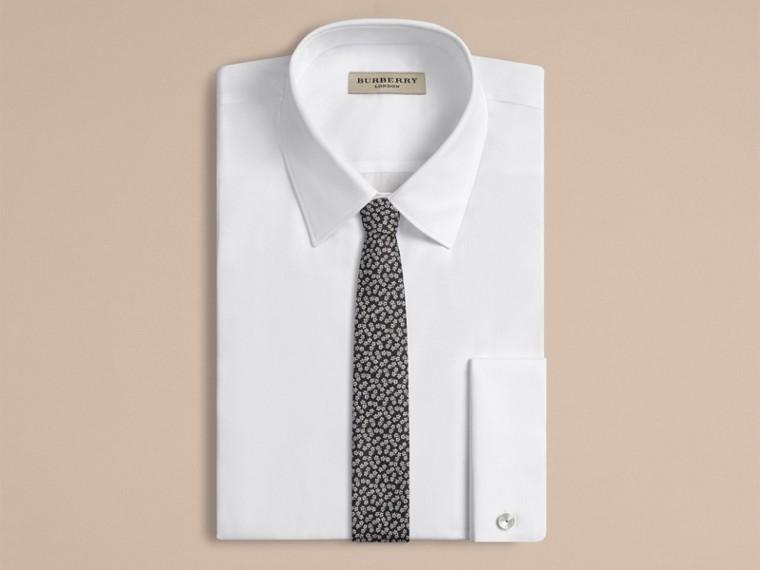 Black Slim Cut Silk Linen Floral Jacquard Tie - cell image 1