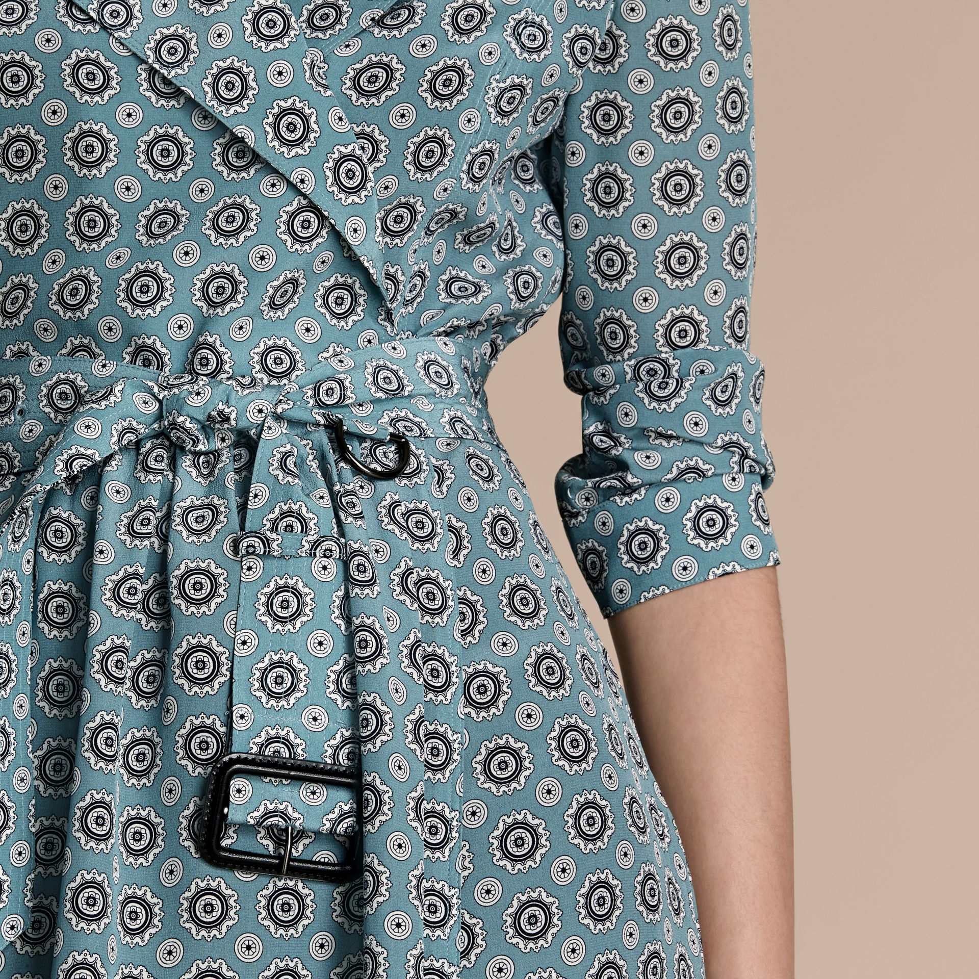 Pale stone blue Pyjama Print Silk Trench Dress - gallery image 5