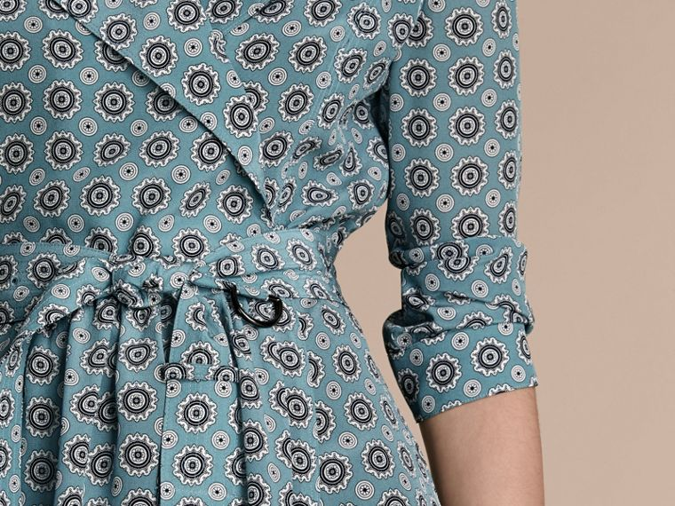 Pale stone blue Pyjama Print Silk Trench Dress - cell image 4