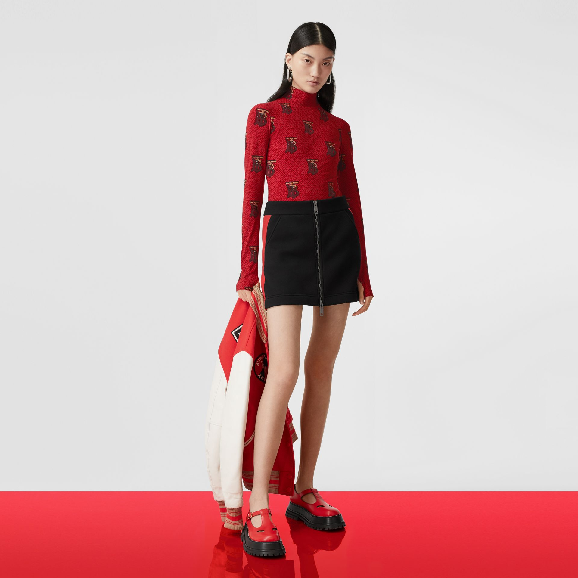 Monogram Motif Stretch Nylon Bodysuit in Bright Red - Women | Burberry - gallery image 7