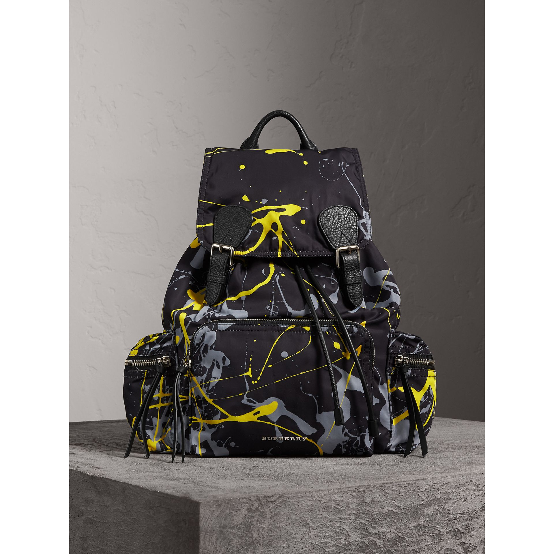 The Large Rucksack in Splash Print in Black/yellow - Men | Burberry United Kingdom - gallery image 4