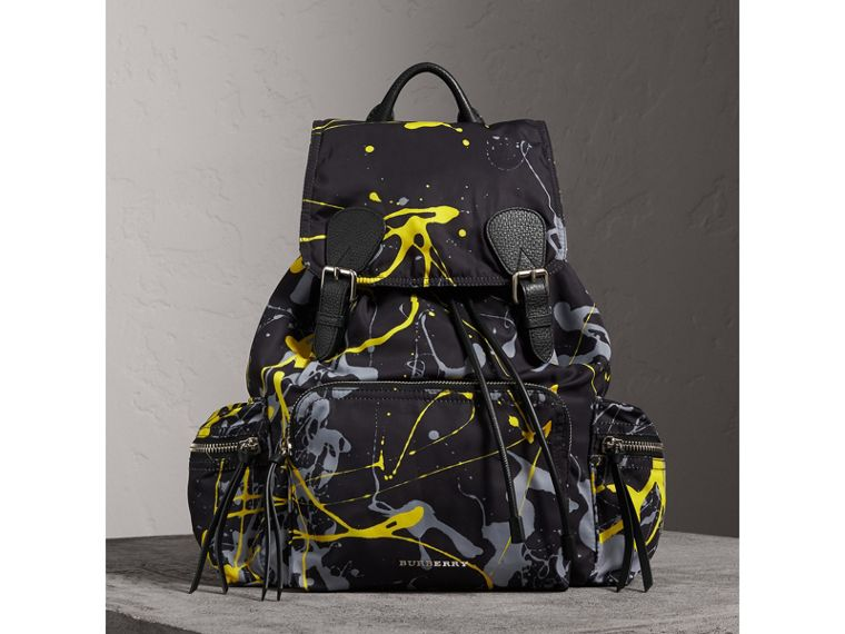 The Large Rucksack in Splash Print in Black/yellow | Burberry Australia - cell image 4
