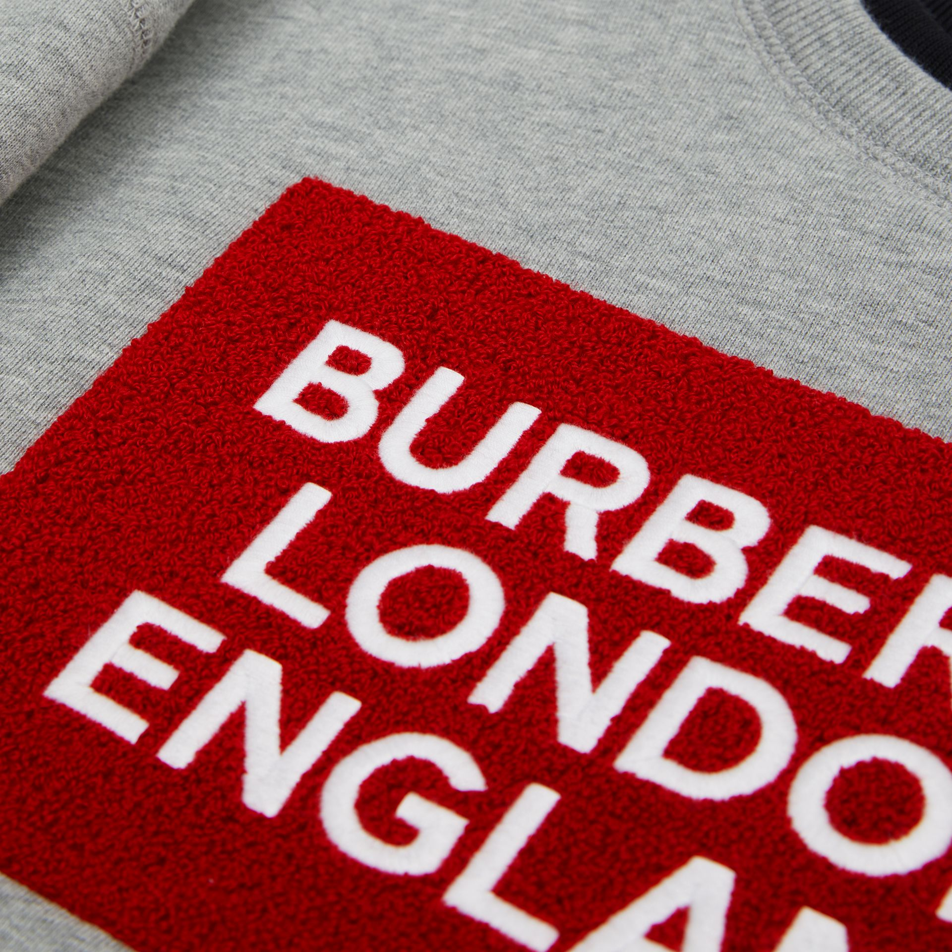 Logo Detail Cotton Sweatshirt in Grey Melange | Burberry - gallery image 1