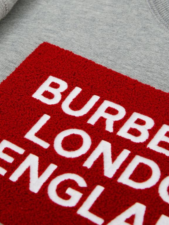 Logo Detail Cotton Sweatshirt in Grey Melange | Burberry - cell image 1