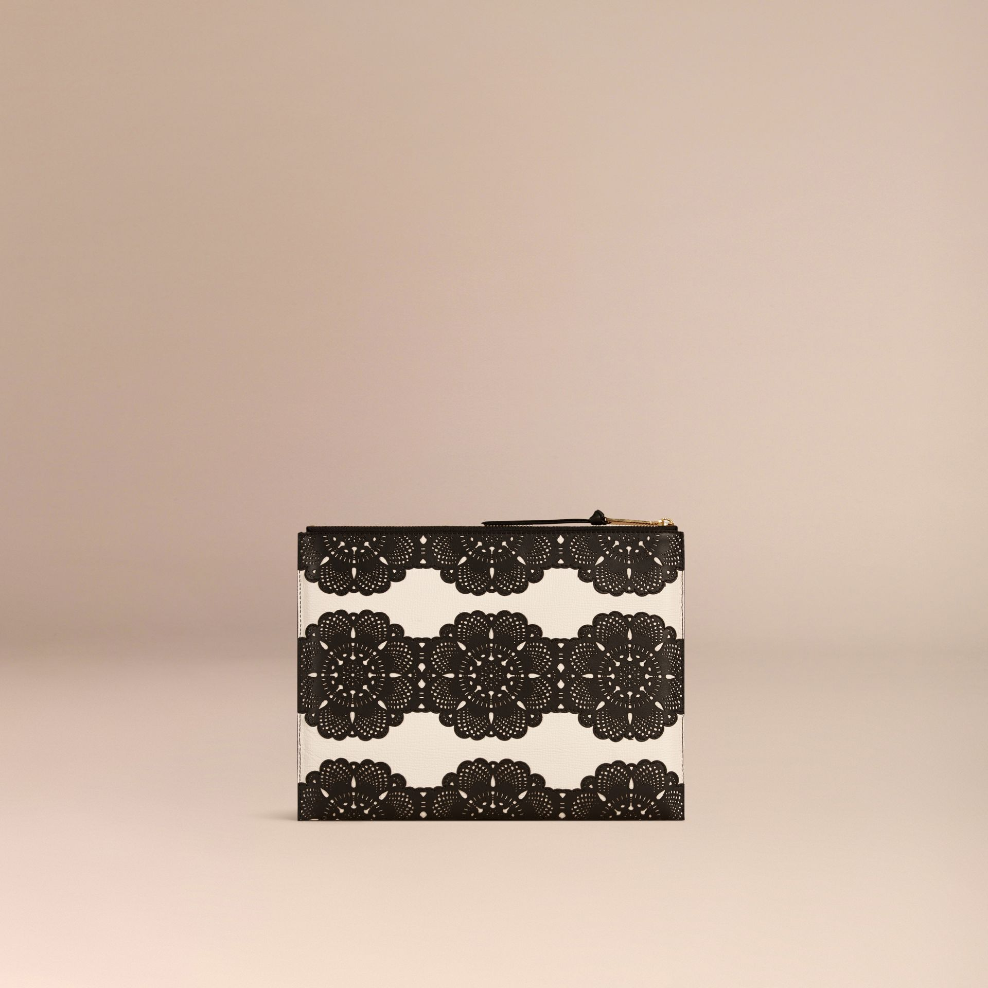 Natural Extra-large Laser-cut Lace Leather Beauty Wallet - gallery image 4