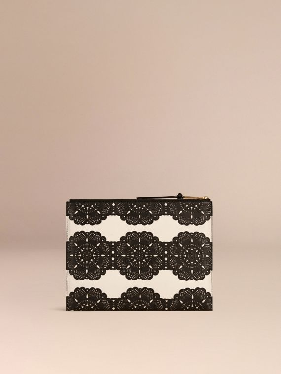 Natural Extra-large Laser-cut Lace Leather Beauty Wallet - cell image 3
