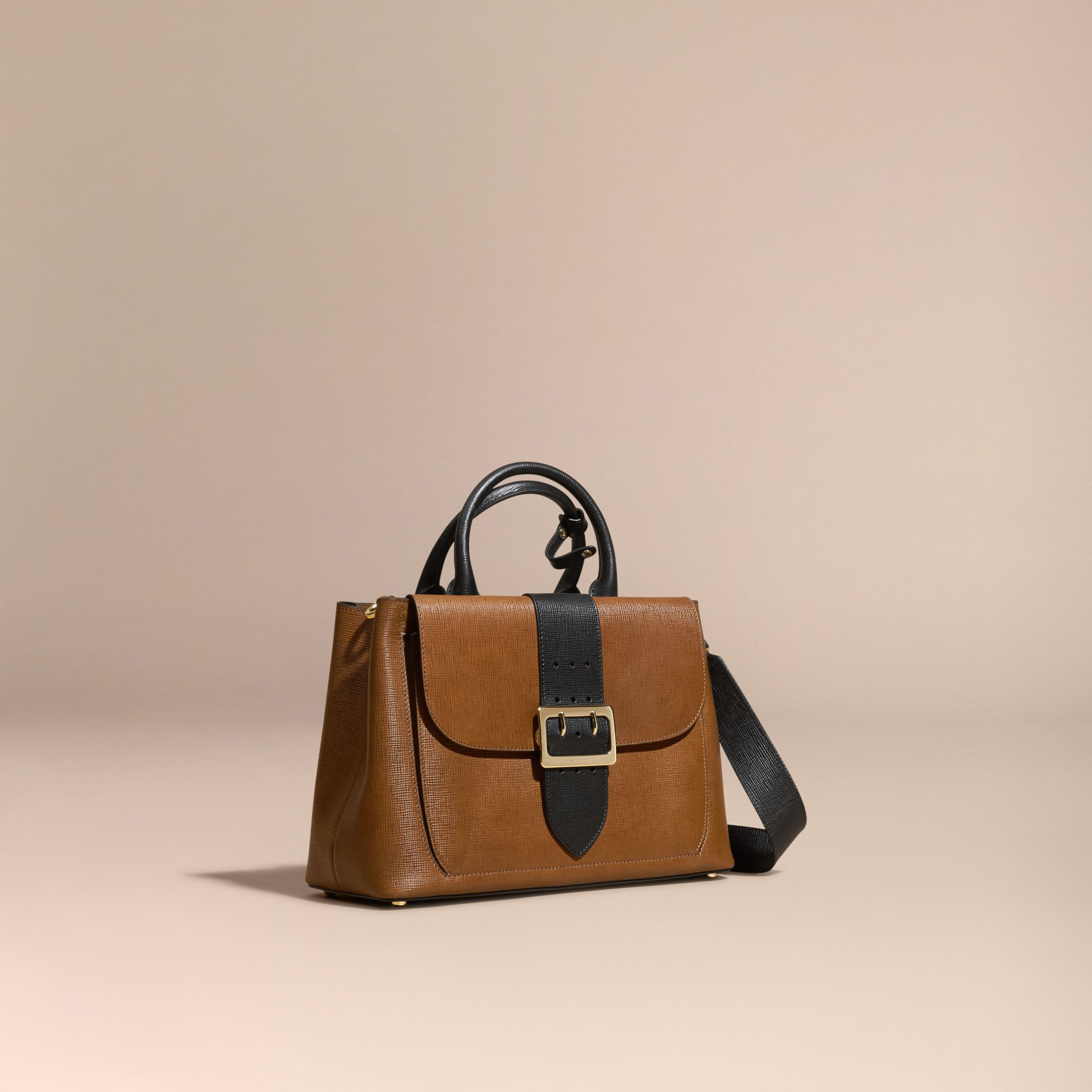 Tan The Medium Saddle Bag in Textured Bonded Leather - gallery image 1