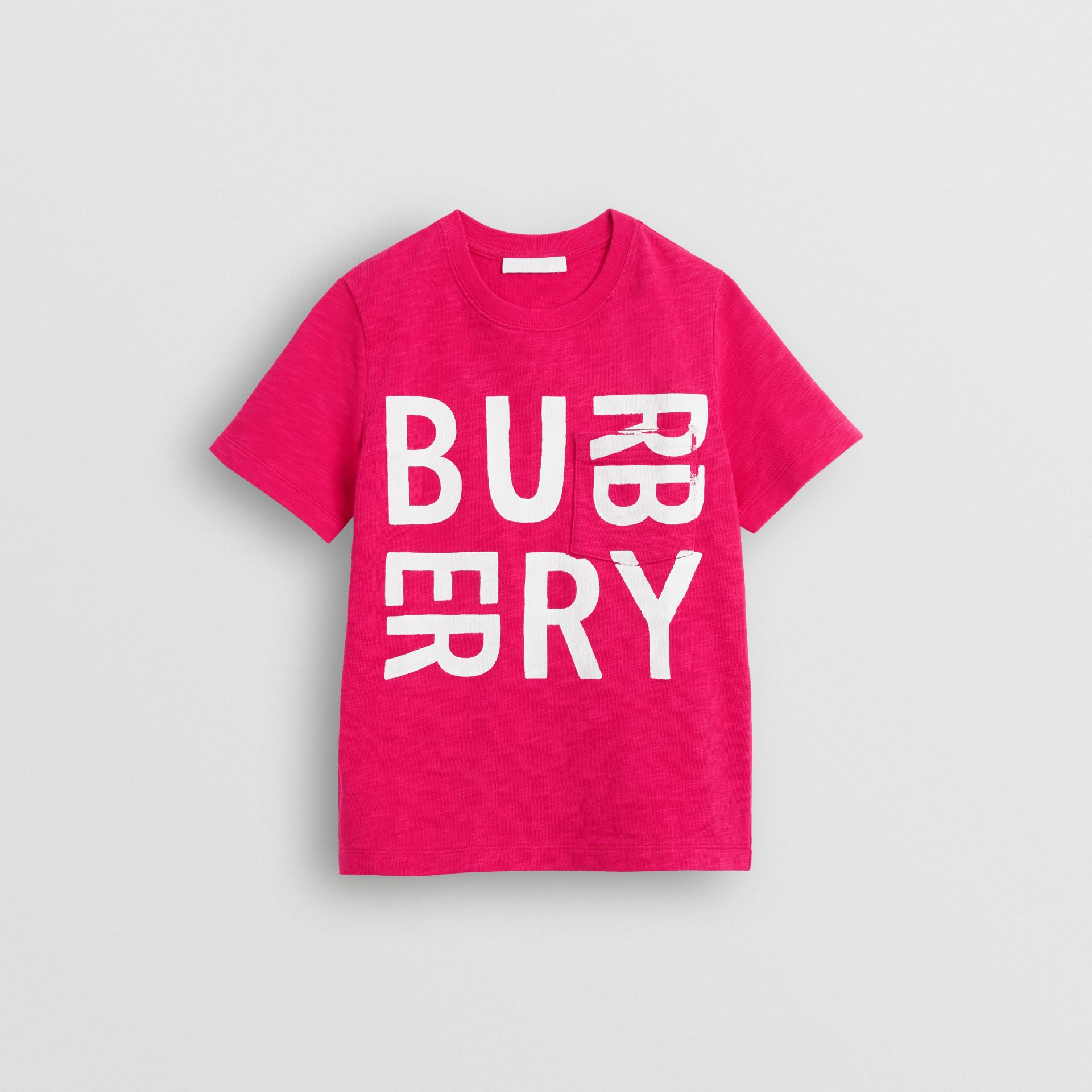 Logo Print Cotton T-shirt in Raspberry Pink - Children | Burberry - gallery image 0