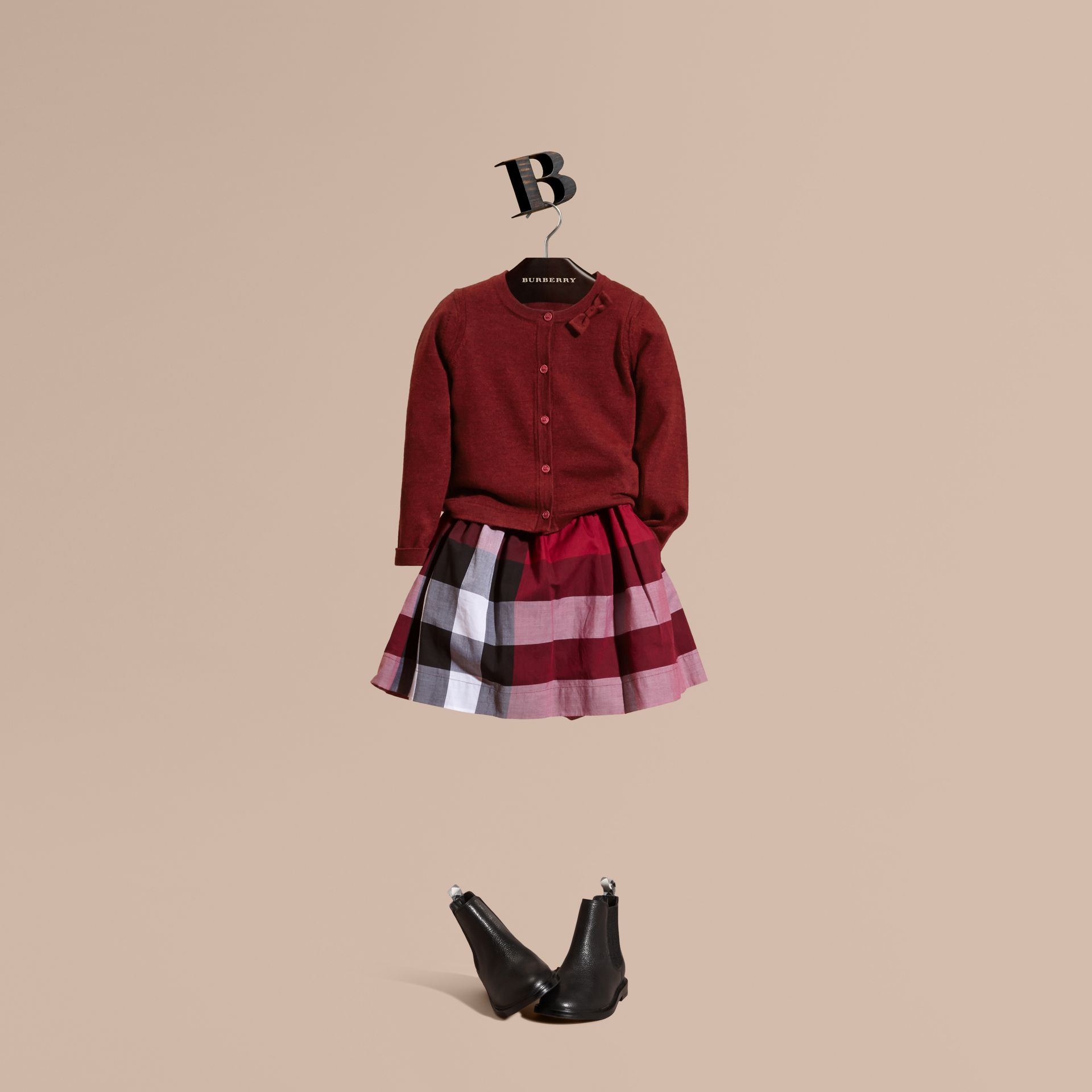 Rosa prugna scuro Cardigan in lana Merino leggera Rosa Prugna Scuro - immagine della galleria 1
