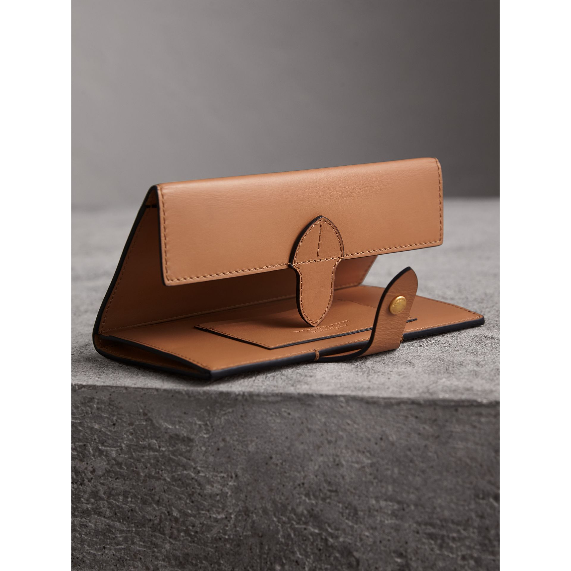 Equestrian Shield Leather Continental Wallet in Camel - Women | Burberry - gallery image 3