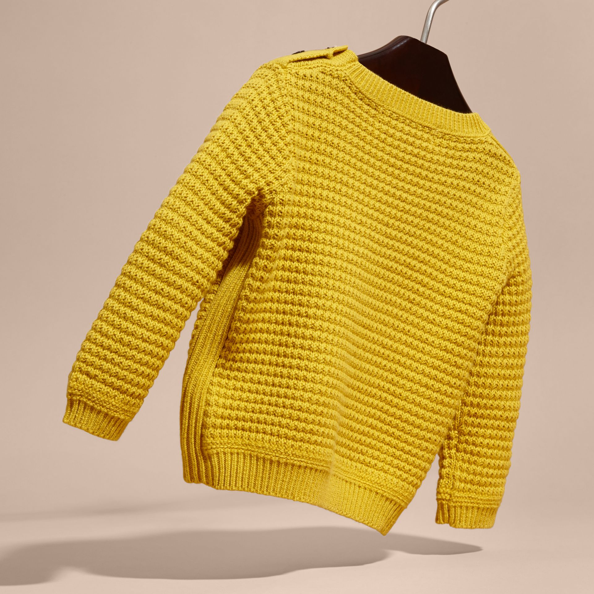 Waffle Knit Cotton Sweater in Bright Yellow - gallery image 4