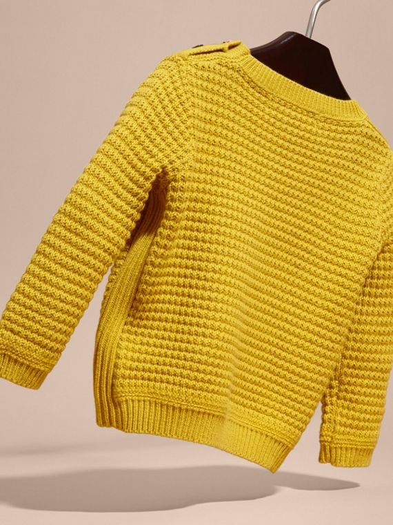 Waffle Knit Cotton Sweater Bright Yellow - cell image 3