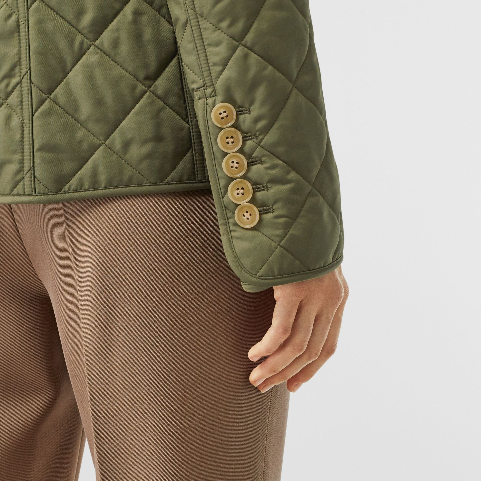 Diamond Quilted Jacket in Olive Green - Women | Burberry - gallery image 4