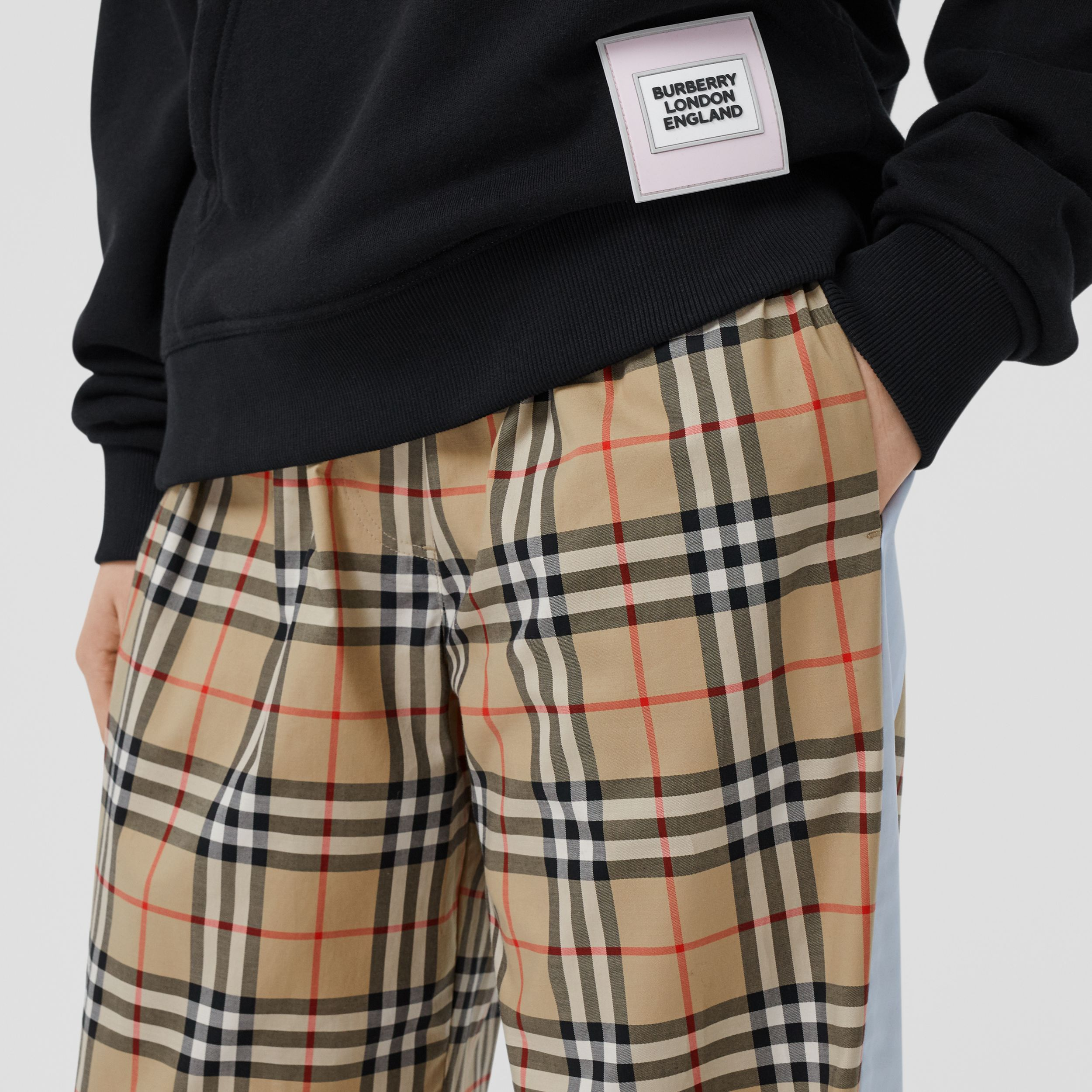 Vintage Check Stretch Cotton Trousers in Archive Beige - Women | Burberry - 2