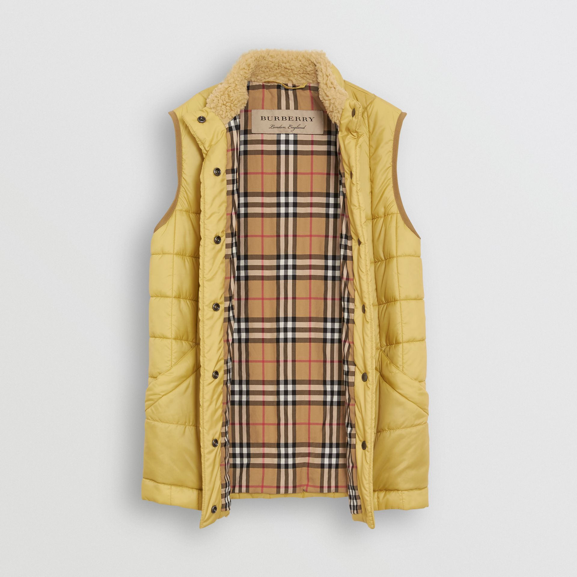 Faux Shearling Collar Lightweight Quilted Gilet in Yellow Quartz - Women | Burberry Australia - gallery image 5
