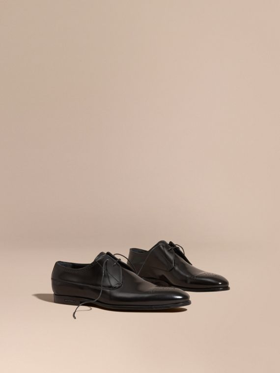 Perforated Detail Leather Derby Shoes in Black