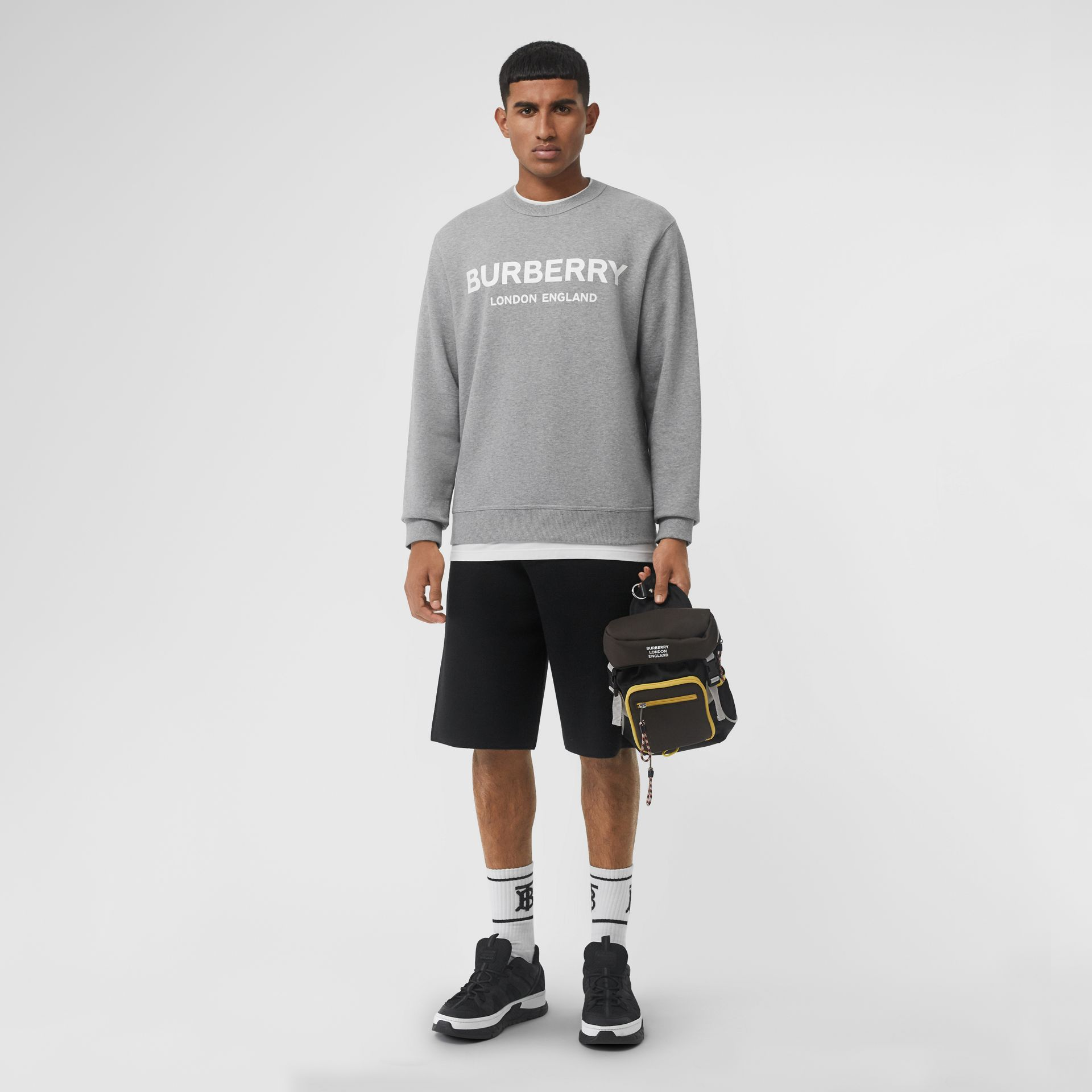 Logo Print Cotton Sweatshirt in Pale Grey Melange - Men | Burberry Canada - gallery image 0