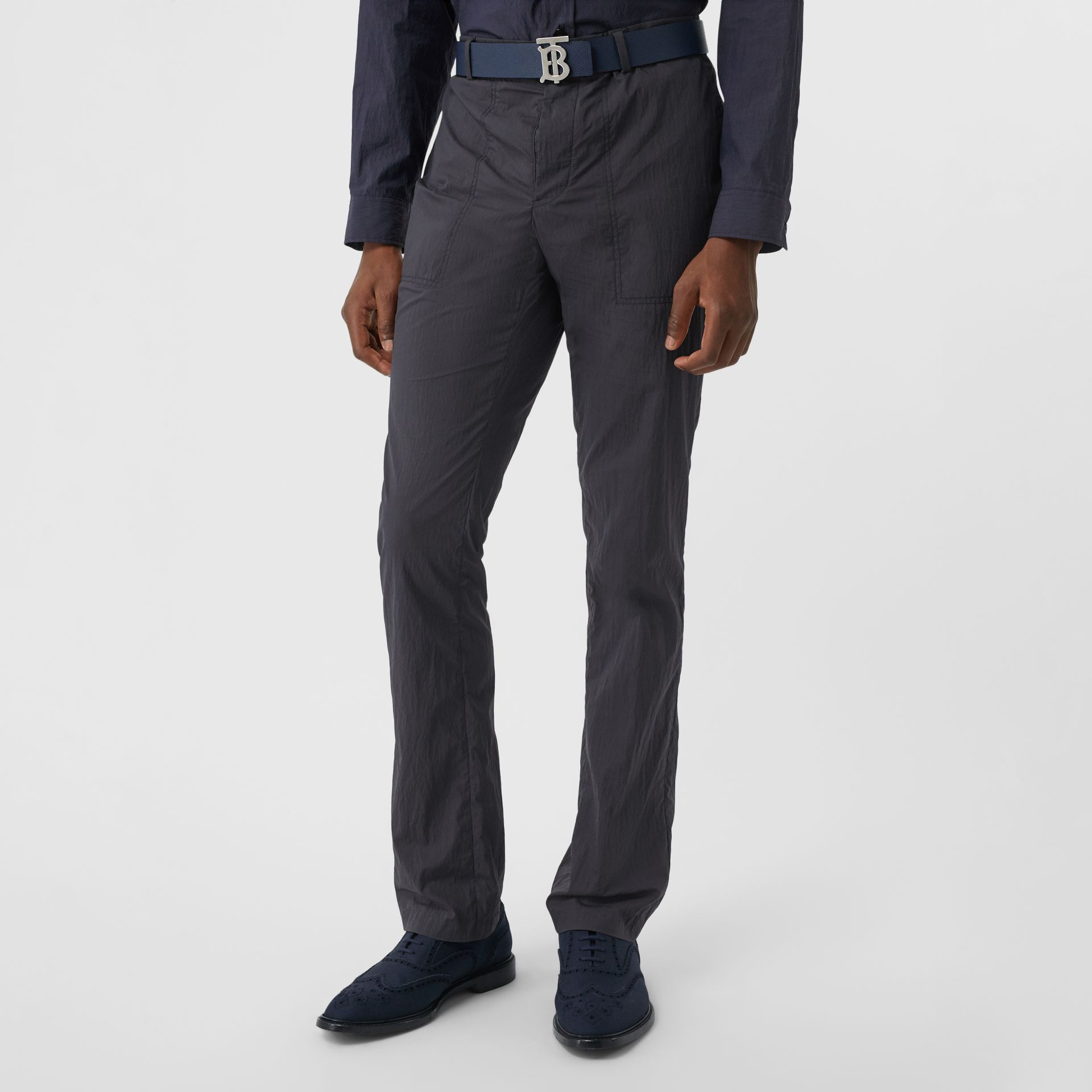 Classic Fit Cotton Blend Tailored Trousers in Navy - Men | Burberry - gallery image 4
