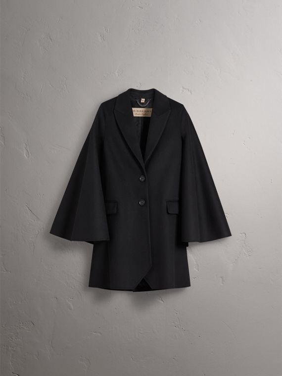 Double-faced Wool Cape Coat in Black - Women | Burberry - cell image 3