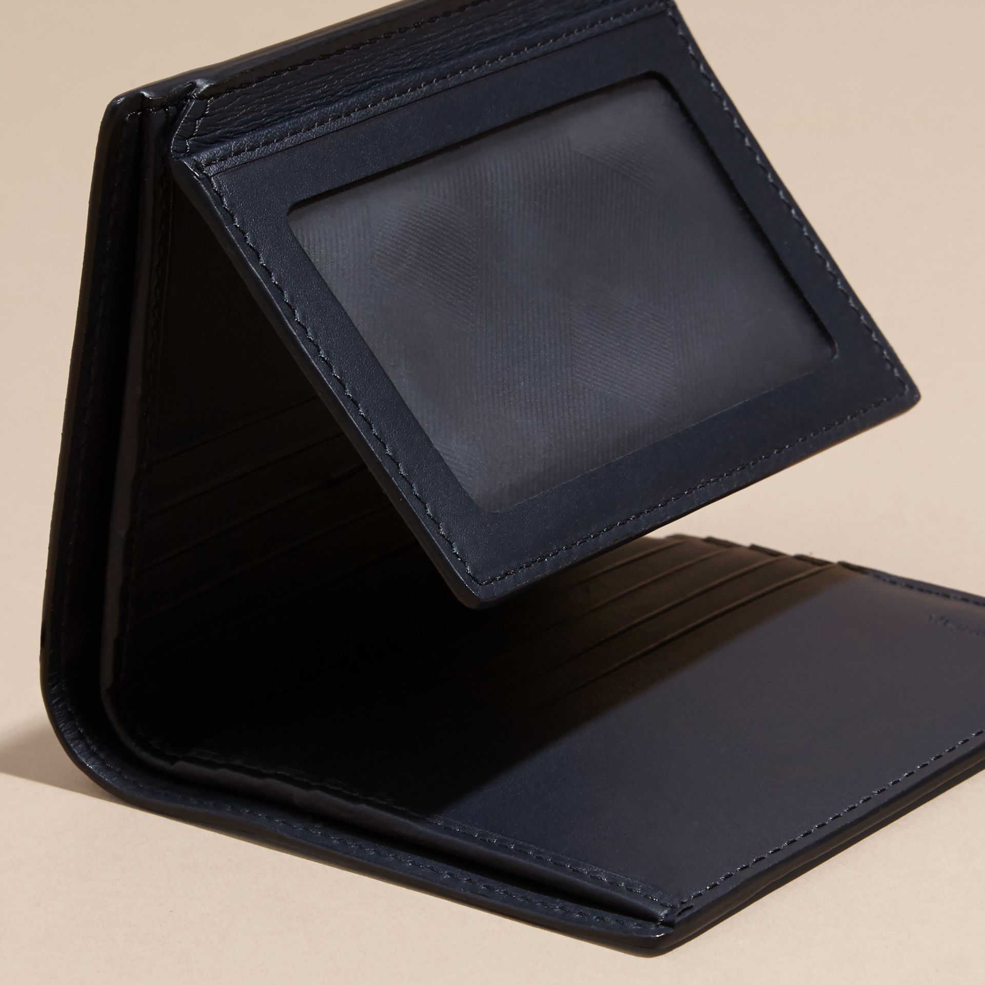 Dark navy London Leather ID Wallet Dark Navy - gallery image 5