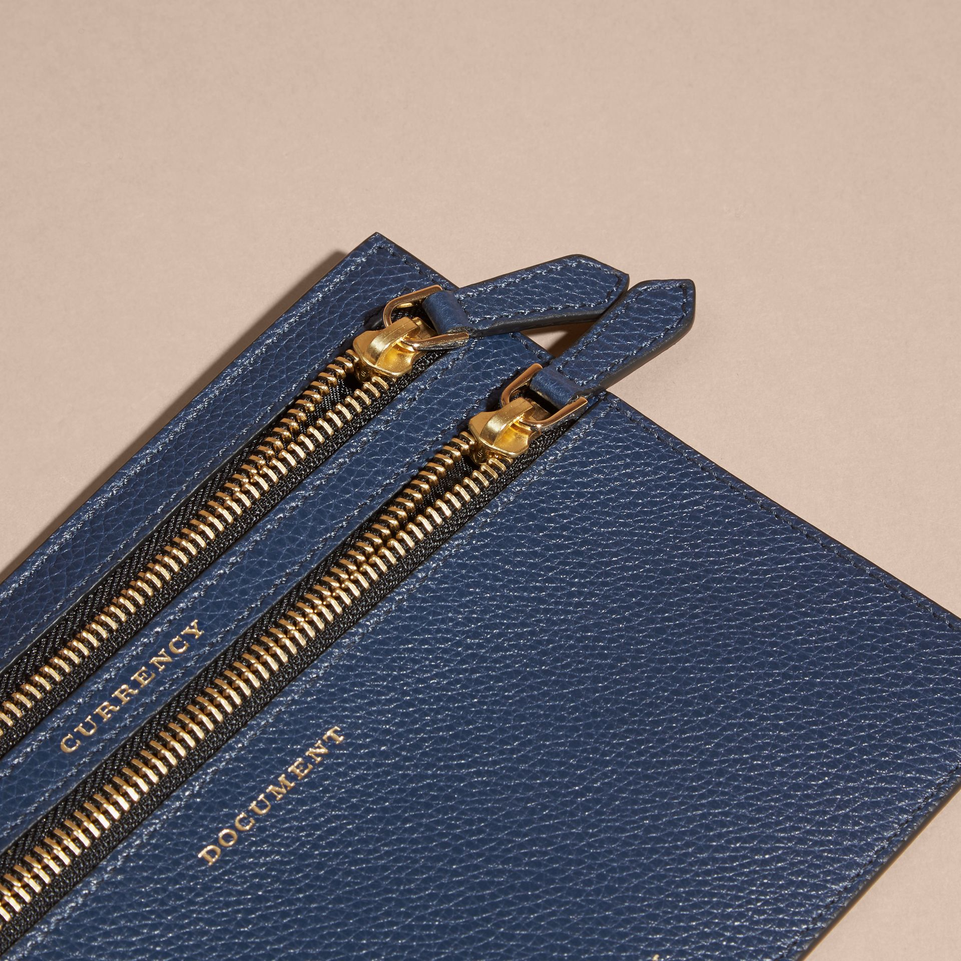 Grainy Leather Currency Wallet in Bright Navy | Burberry - gallery image 2