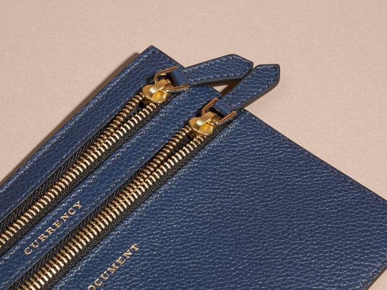 Grainy Leather Currency Wallet in Bright Navy | Burberry - cell image 1