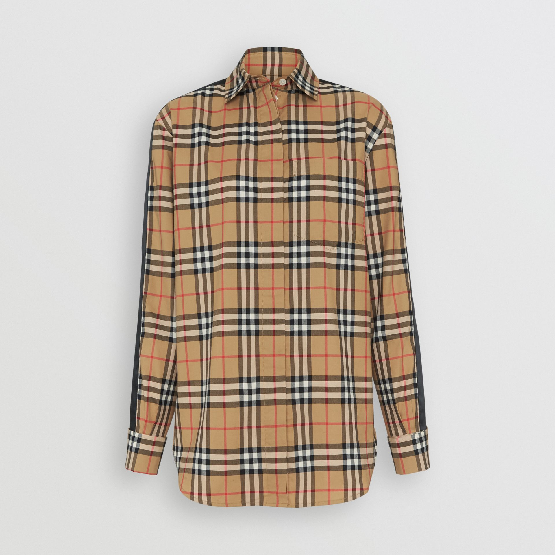 Satin Stripe Vintage Check Shirt in Antique Yellow - Women | Burberry Hong Kong - gallery image 3