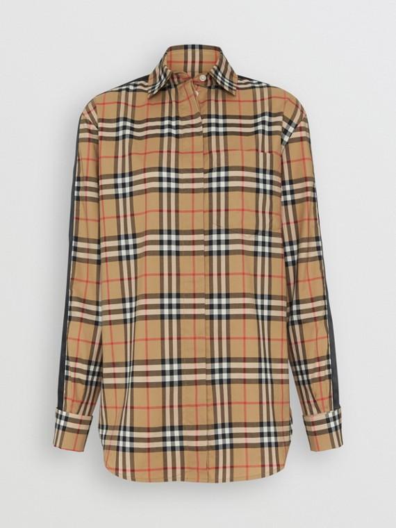 緞面條紋 Vintage 格紋襯衫 (古典黃)