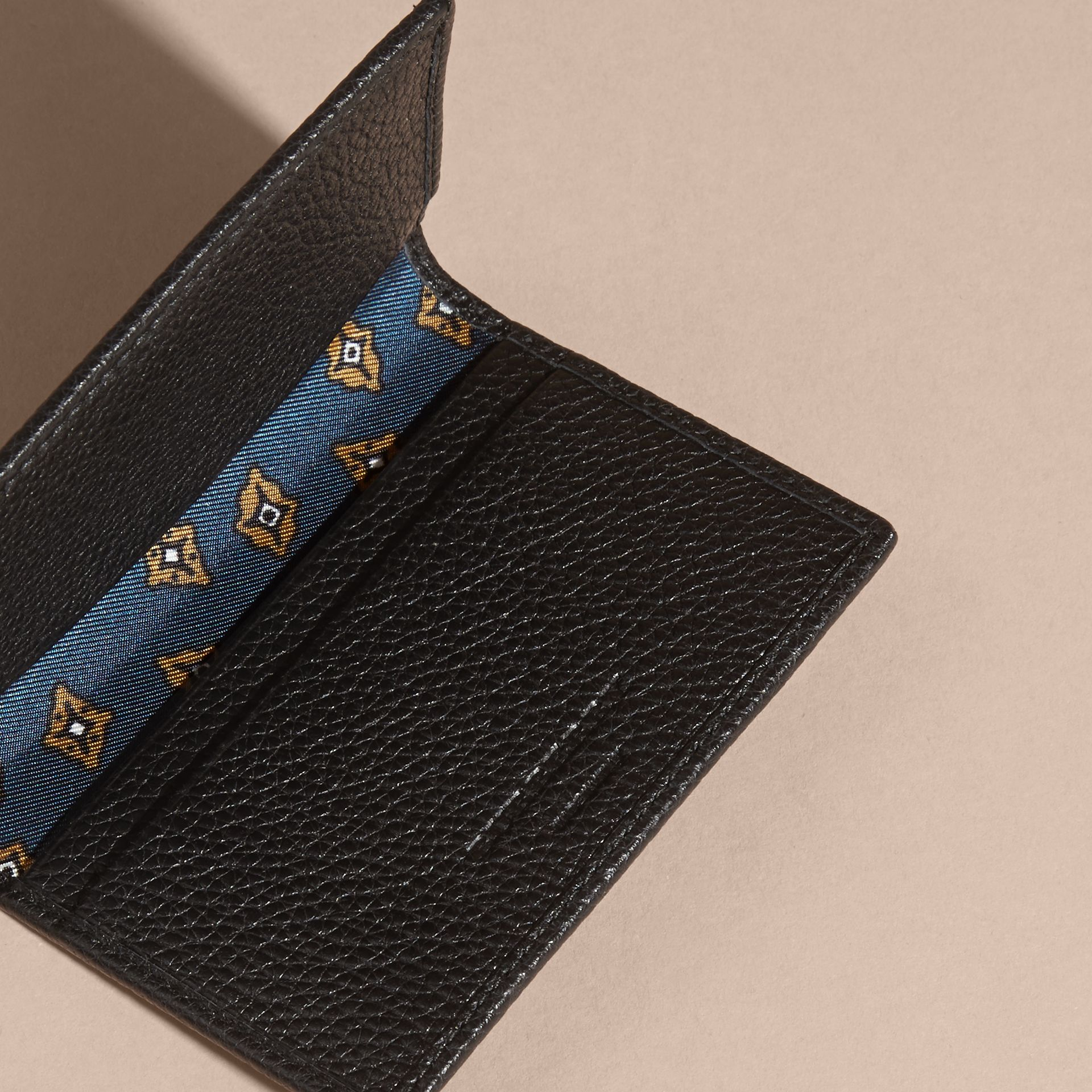 Black Grainy Leather Card Holder - gallery image 5