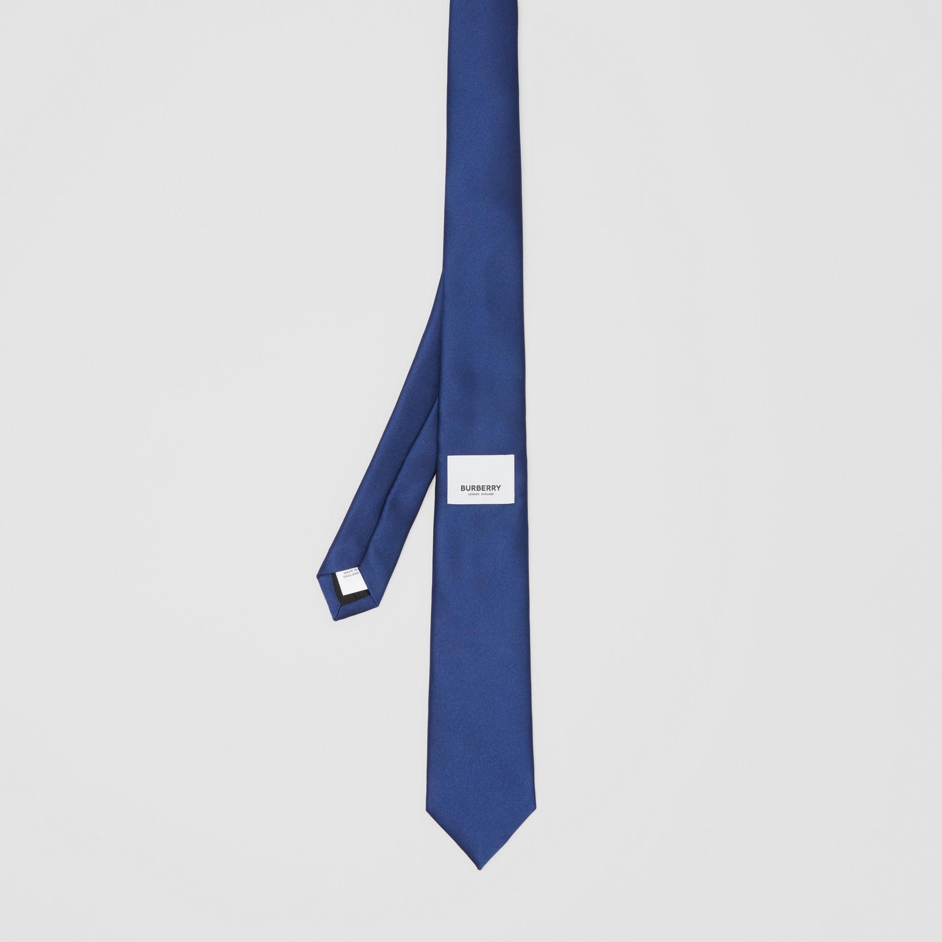 Classic Cut Logo Appliqué Silk Satin Tie in Sapphire Blue - Men | Burberry - gallery image 4